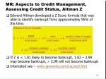 mr aspects to credit management assessing credit status altman z