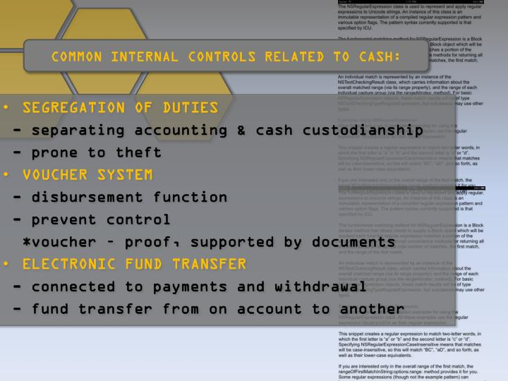 COMMON INTERNAL CONTROLS RELATED TO CASH: