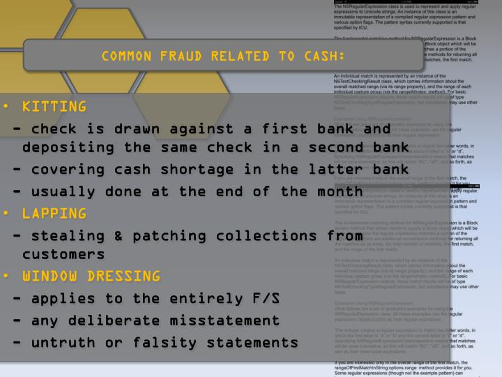 COMMON FRAUD RELATED TO CASH: