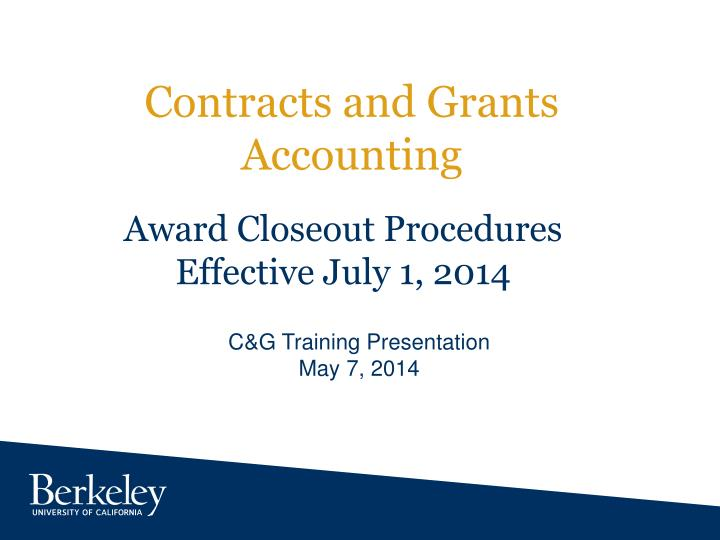 contracts and grants accounting n.