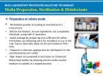 basic laboratory procedures culture techniques media preparation sterilization disinfectants