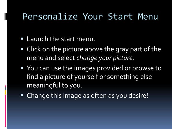 Personalize Your Start Menu