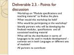 deliverable 2 3 points for discussion