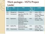 work packages vgtu project leader