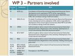 wp 3 partners involved