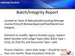 batch integrity report