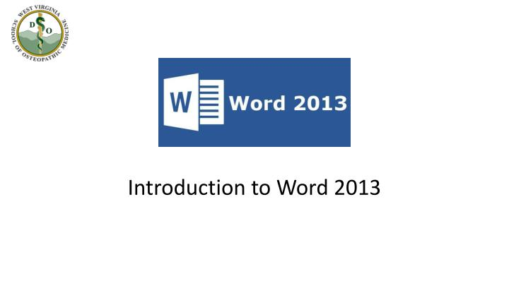 introduction to word 2013 n.