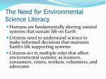 the need for environmental science literacy