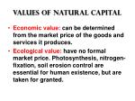 values of natural capital