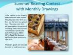 summer reading contest with monthly drawings