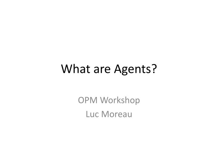 what are agents n.