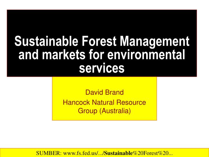 sustainable forest management and markets for environmental services n.