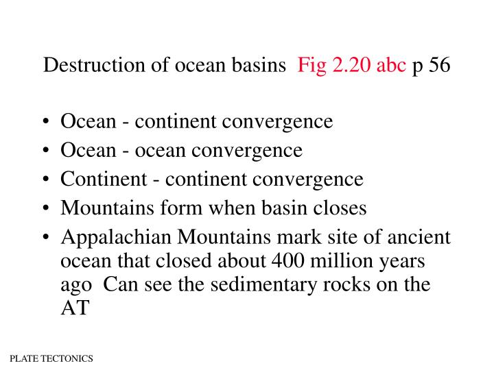 Destruction of ocean basins