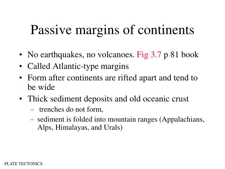 Passive margins of continents