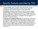 security features provided by tpm