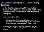 concepts of belonging in poetry emily dickinson