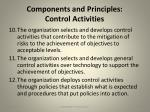 components and principles control activities