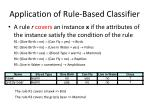 application of rule based classifier