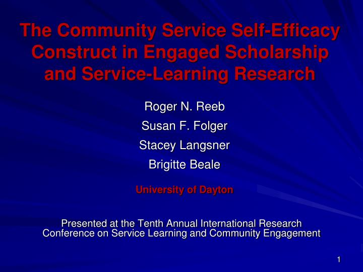 the community service self efficacy construct in engaged scholarship and service learning research n.