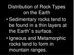 distribution of rock types on the earth