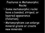 features in metamorphic rocks