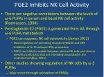 pge2 inhibits nk cell a ctivity