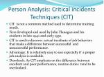 person analysis critical incidents techniques cit