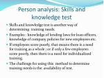 person analysis skills and knowledge test