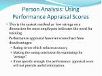 person analysis using performance appraisal scores