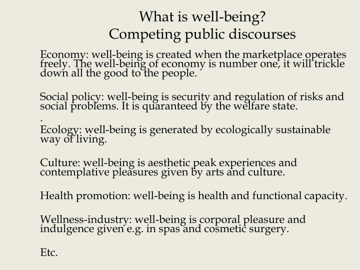 What is well being competing public discourses