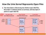 how the unix kernel represents open files