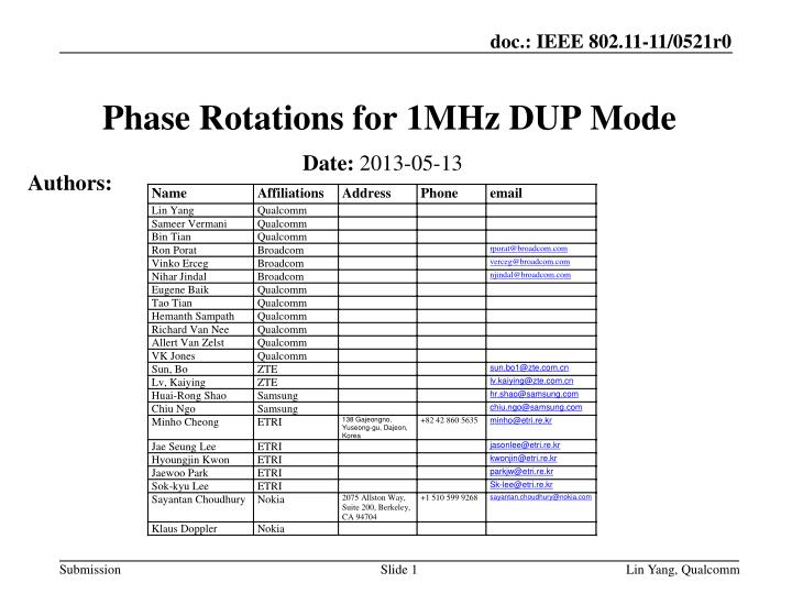 phase rotations for 1mhz dup mode n.