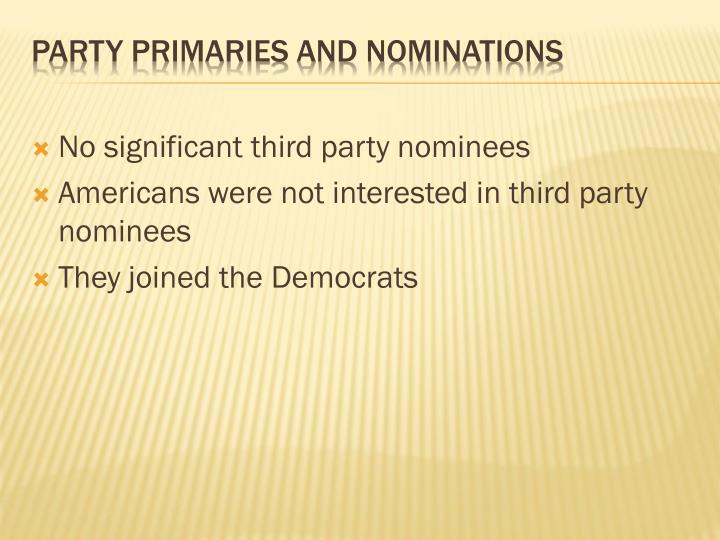 No significant third party nominees