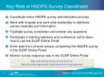key role of hsops survey coordinator