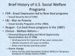 brief history of u s social welfare programs