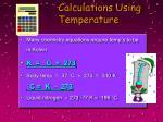 calculations using temperature