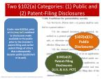 two 102 a categories 1 public and 2 patent filing disclosures