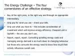 the energy challenge the four cornerstones of an effective strategy
