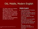 old middle modern english