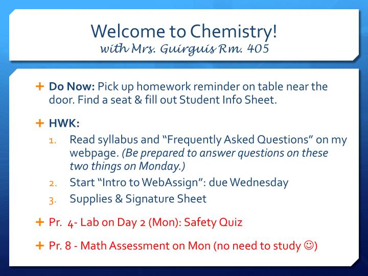 welcome to chemistry with mrs guirguis rm 405 n.