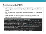 analysis with gdb