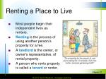 renting a place to live