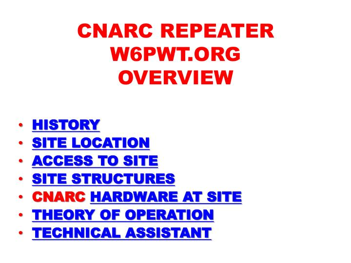 cnarc repeater w6pwt org overview n.