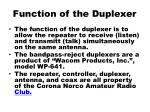 function of the duplexer