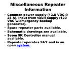 miscellaneous repeater information