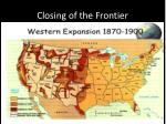 closing of the frontier