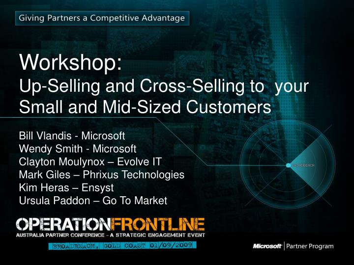 workshop up selling and cross selling to your small and mid sized customers n.