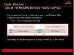 digital dividend 1 use of the 800mhz band by mobile services