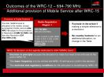 outcomes of the wrc 12 694 790 mhz additional provision of mobile service after wrc 15