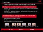 summary licensing framework of the digital dividend